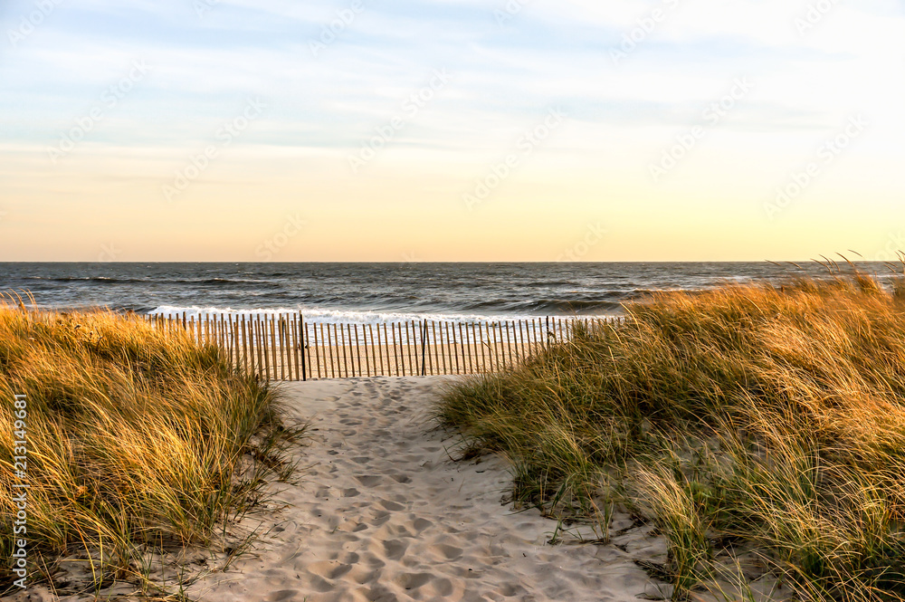 Fototapety, obrazy: Sunset in a November Autumn day, at Hamptons Beach New York