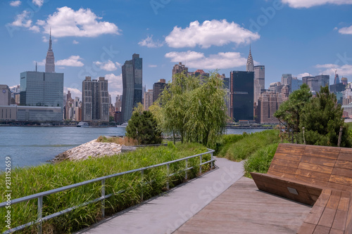 Hunter's Point South Park with view of Manhattan skyline and East River Canvas Print