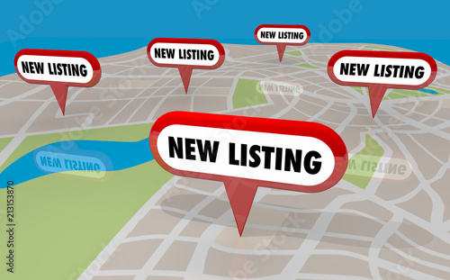 Fotografie, Obraz  New Listing Homes Houses for Sale Real Estate 3d Illustration