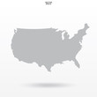 """Map of USA. Outline of """"United States of America"""" map on white background with soft shadow. Vector."""