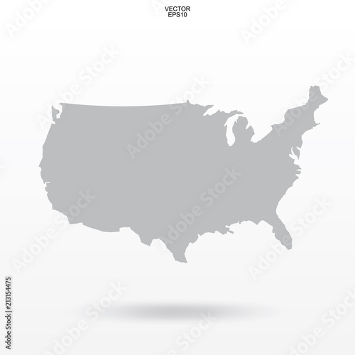 Map of USA. Outline of \