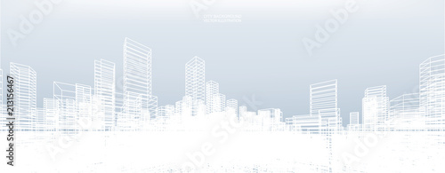 Abstract wireframe city background. Perspective 3D render of building wireframe. Vector. - 213156467