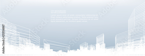 Abstract wireframe city background. Perspective 3D render of building wireframe. Vector. - 213156867