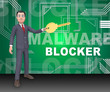 Malware Blocker Website Trojan Protection 3d Rendering