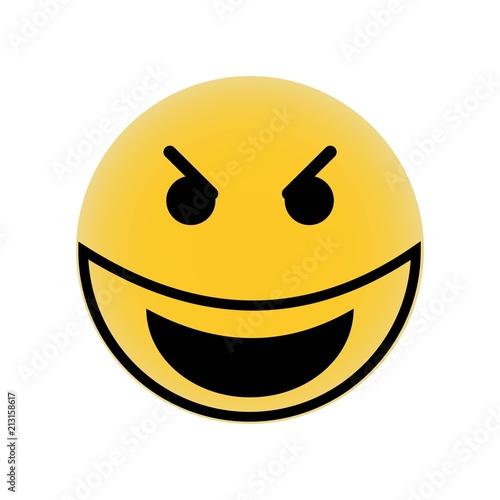 Evil smile emoji vector icon  Simple element illustration