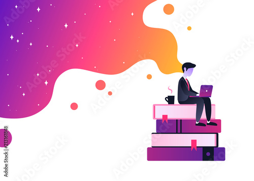 Obraz Vector ultra violet gradient illustration of creativity in Internet. Bright colorful splash with businessman working with laptop. Creative process and brainstorming. - fototapety do salonu