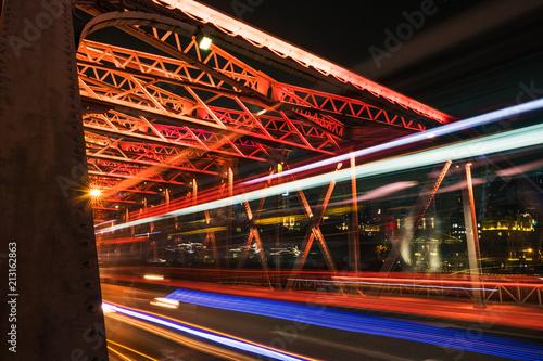 Shanghai Skyline - from Waibaidu bridge - light trails - red iron bridge Poster