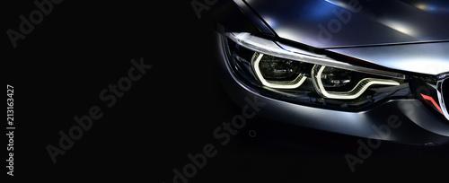 Fototapeta Detail on one of the LED headlights modern car. obraz