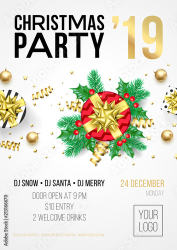 christmas party invitation poster or card for 2019 happy new year holiday celebration with golden confetti