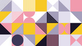 Geometric pattern design of vector Scandinavian abstract color or Swiss geometry prints background with rectangles, squares and circles - 213167263