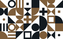 Bauhaus Art Vector Pattern Background Of Geometric Shapes And Simple Elements