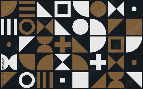 Fototapeta  Bauhaus art vector pattern background of geometric shapes and simple elements of