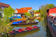 canvas print picture - Luebbenau Kleiner Hafen im Spreewald im Fruehling - Luebbenau small harbour, Spree Forest in spring, Brandenburg