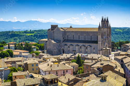 Poster Marron chocolat Orvieto, Italy - Panoramic view of Orvieto old town and Umbria region with Piazza Duomo square and Duomo di Orvieto cathedral