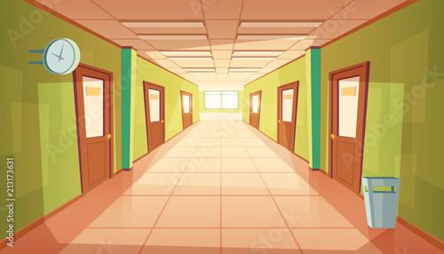Foto Vector cartoon school hallway with window and many doors