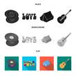Vinyl discs, guitar, tent.Hippy set collection icons in black, flat, monochrome style vector symbol stock illustration web.