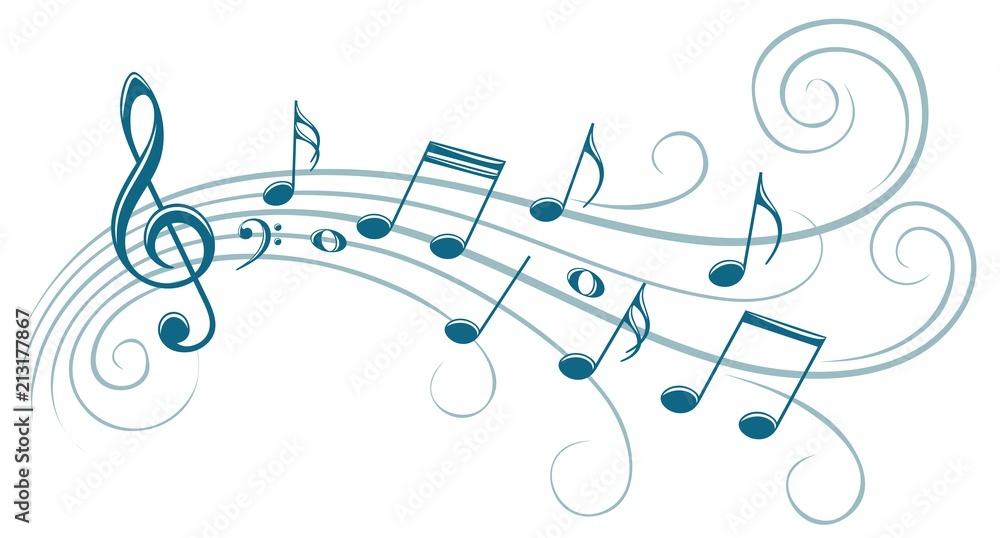 Fototapeta Symbol with music notes.