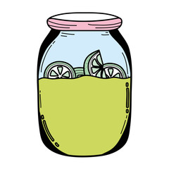 color mason jar with cucumbers organic preserve