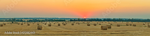wheat field with bale of straw after harvest under the western sun Canvas Print