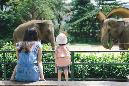 Fotografie, Obraz  Happy mother and daughter watching and feeding elephants in zoo.