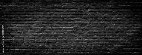 Foto op Plexiglas Historisch geb. Black brick wall panoramic background