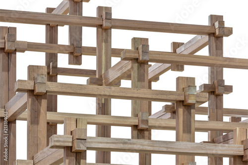 Fotografia, Obraz Wood joinery isolated on white background (with work path)