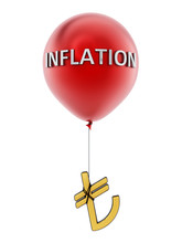 Red Flying Balloon With Tied Turkish Lira Symbol. 3D Illustration