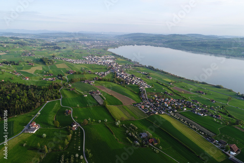 Central Switzerland in spring with Lake Sempach near Lucerne in the background