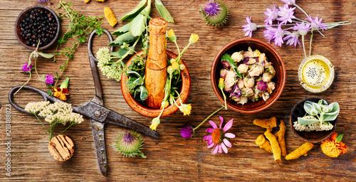 Photo  Healing herbs with mortar