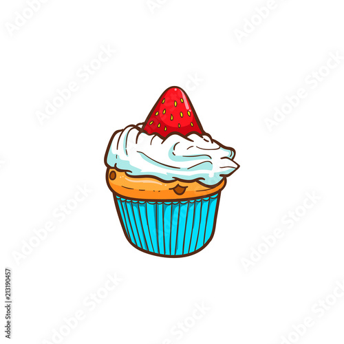 strawberry cup cake vector illustration Poster