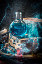 Blue Magic Potion With Smoke