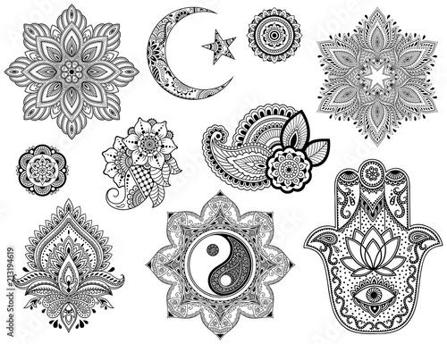 Fotografie, Tablou Big set of Mehndi flower pattern, mandala, Star and Crescent, Yin-yang symbol and Hamsa for Henna drawing and tattoo