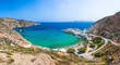 Scenic Firopotamos village (traditional Greek village by the sea, the Cycladic-style) with sirmata - traditional fishermen's houses, Milos island, Cyclades, Greece.