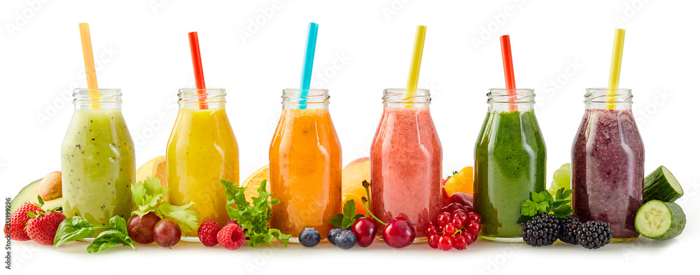 Fototapeta Healthy fresh fruit smoothies with ingredients