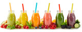 Healthy fresh fruit smoothies with ingredients