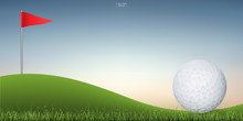 Golf Ball On Green Hill Of Golf Court With Sunset Sky Background. Vector.