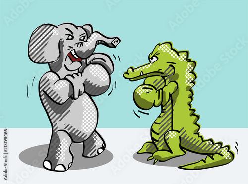 Fotografía  Gevecht tussen krokodil en olifant