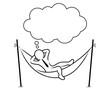 Geschäftsmann entspannt mit verschränkten Armen in einer Hängematte mit Sprechblase – Schwarz-weiß / Vektor-Zeichnung / Konturen