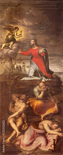 MODENA, ITALY - APRIL 14, 2018: The painting of Jesus prayer in Gethsemane garden in church Chiesa di San Pietro by Giovani Battista Ingoni (1560).
