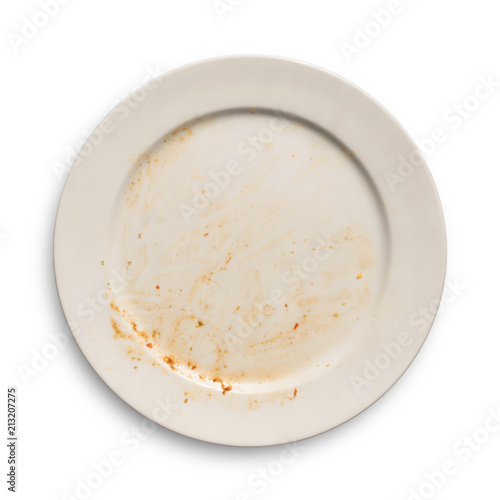 Top view of empty plate, dirty after the meal is finished isolate with clipping path. Wall mural