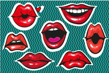 Pop Art Sexy Fashion Patch Badges Or Fancy Stickers For Prints, Banners, Advertisement Moody Female Lips