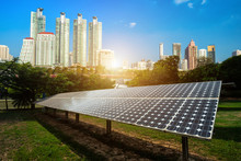 Solar Panel With Modern Urban ...