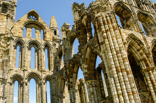 Whitby abbey view showing ruins Canvas Print