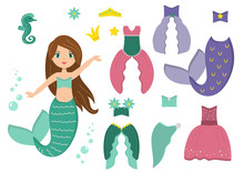 Dress Up Game For Kids. Mermaid Paper Doll With Clothes And Seahorse Pet. Vector Illustration