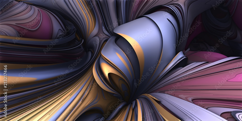 Fototapeta 3D Abstract Illustration - Abstract smooth organic purple, yellow and pink shapes, Taffy candy appearance. Liquid explosion, Artificial Intelligence illustration. geometric twisted symmetry, curves