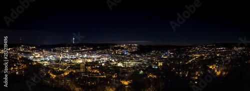 Stuttgart Nacht Panorama Fototapet
