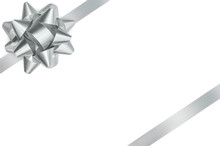 Silver Bow And Ribbon Isolated Clipping Path