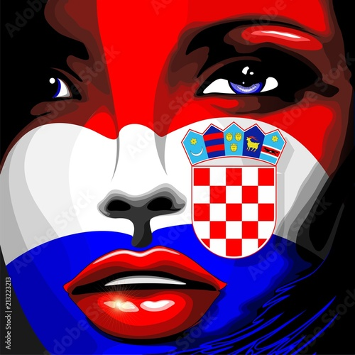 Staande foto Draw Croatia Flag Beautiful Girl Portrait