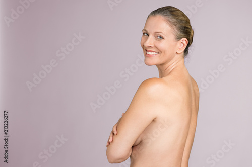 Deurstickers Akt Senior woman standing naked