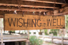 Wooden Wishing Well Sign